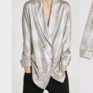 Like new/ZARA Metallic Gold Blazer Dress/M